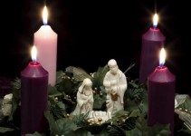 Advent Wreath with Nativity Scene